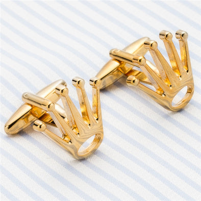 Gold Crown Tie and Bling Cuff Links Free Shipping