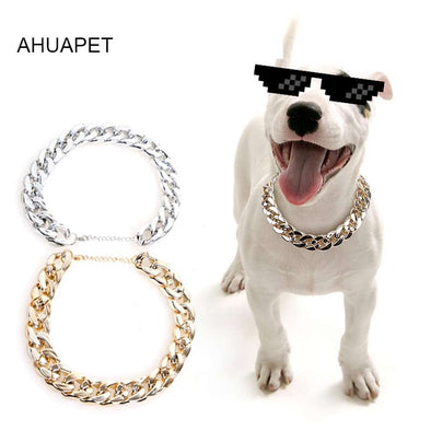 Silver or Gold Plated Bling Dog Necklace Pet Jewelry Free Shipping