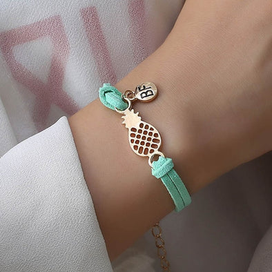 Best Friend Pineapple Round Pendant Leather Bracelets Free Shipping