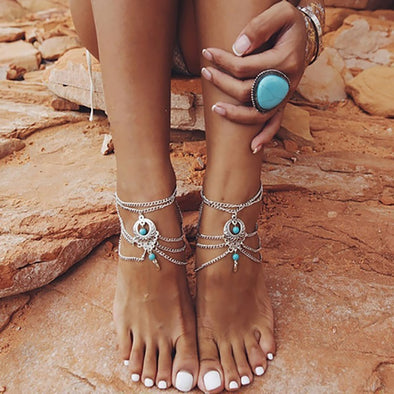 Womens Summer Barefoot Bling Sandals and Bling Anklets Free Shipping