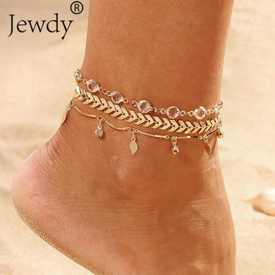 Womens Crystal Multi Layered Bling Anklet Many Styles Free Shipping
