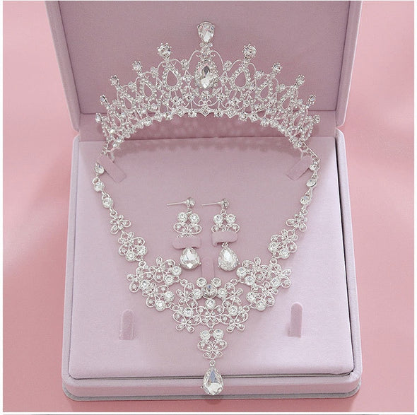 Bridal Luxury Tiara, Necklace and Bling Earrings Set Free Shipping