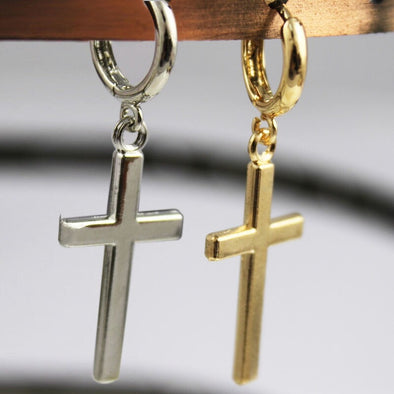 Womens Cross Dangle Drop Earrings Free Shipping