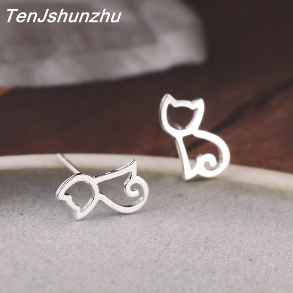 Sterling Silver Cat Stud Earrings Free Shipping