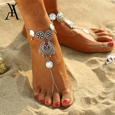 Womens Vintage Silver Coin Bling Anklet Barefoot Sandals Free Shipping