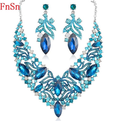 Stunning Blue Turquoise Two Piece Necklace Set Free Shipping