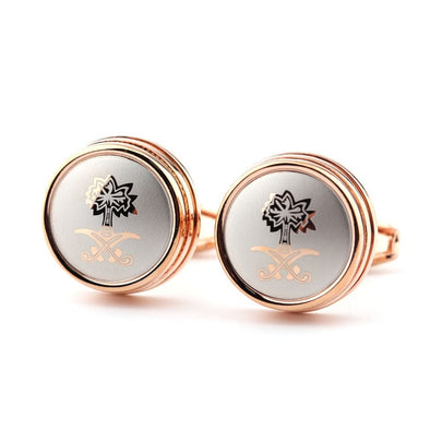 Unisex Round Laser Bling Luxury Cuff Links Free Shipping