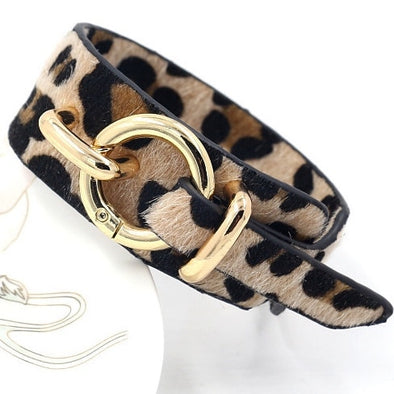 Womens Leopard Print Wide Leather Bracelets Free Shipping