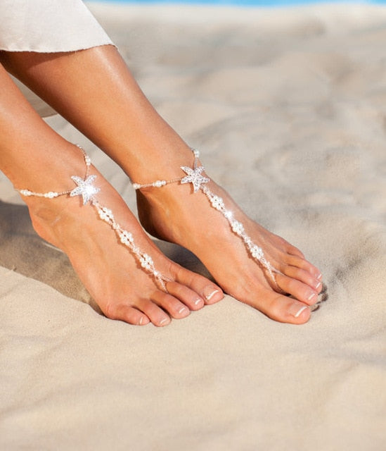 Womens  Bridal Bling Barefoot Sandals Free Shipping