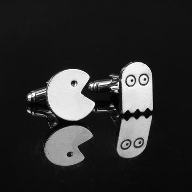 Unisex Unique Bling Pac Man Tie and Cuff Links Free Shipping
