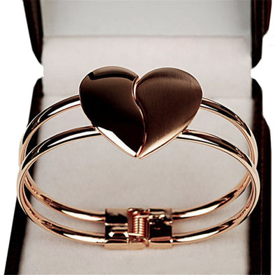 Womens Heart Bangle Bracelet Free Shipping