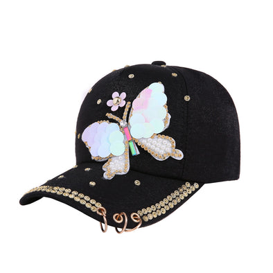 New Summer Women Sequin Bling Butterfly Baseball Cap Free Shipping