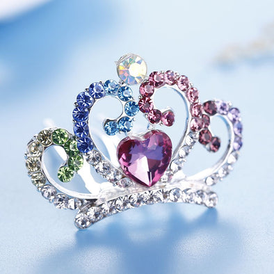 Mini Cute Love Heart Bling Princess Hair Tiara Comb Free Shipping