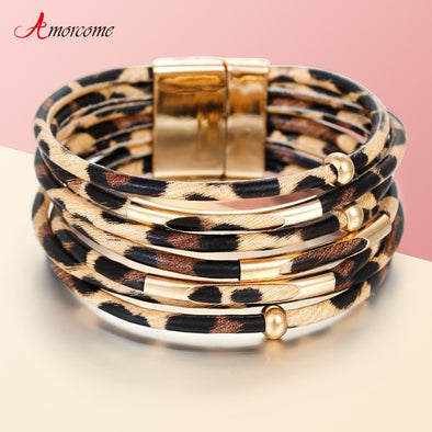 Womens Leopard Multi-layer Wide Wrap Bracelet Free Shipping