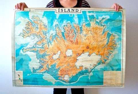 "Old map of Iceland 38,5"" x 27"" ( 98,5 x 69,5 cm)"