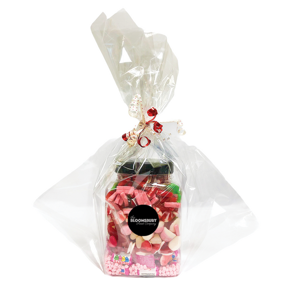 Valentine's Day Square Gift Jar (Cellophane Wrapped)