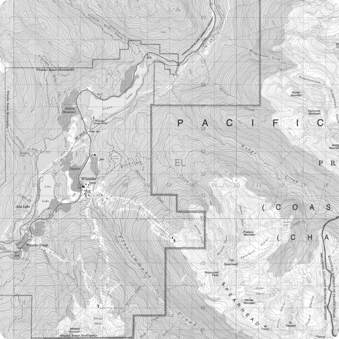 Whistler Topographic Map in Black and White