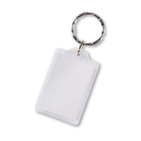 Image of Classic 2 Piece Plastic Acrylic Keyring Rectangle Key Rings