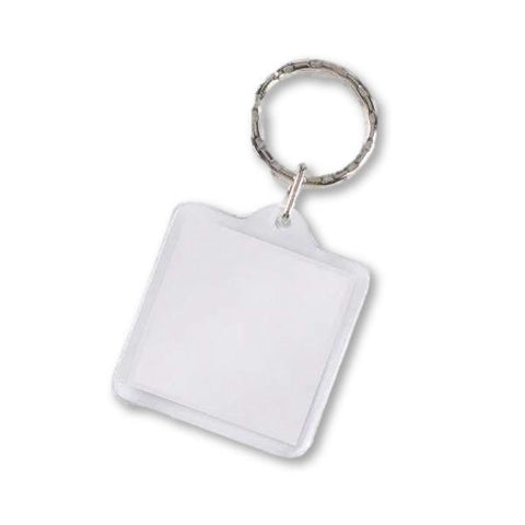Image of Classic 2 Piece Plastic Acrylic Keyring Square Key Rings