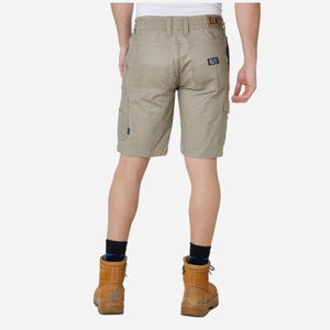 Mens Elastic Waist Work Shorts with Adjustable Drawstring