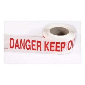 Red On White Danger Keep Out Warning Tape