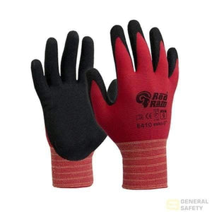 Red Polyamide With Black Sandy Latex Coating Coated Gloves