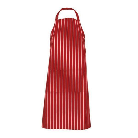 Image of Bib Striped Apron with Front Pocket