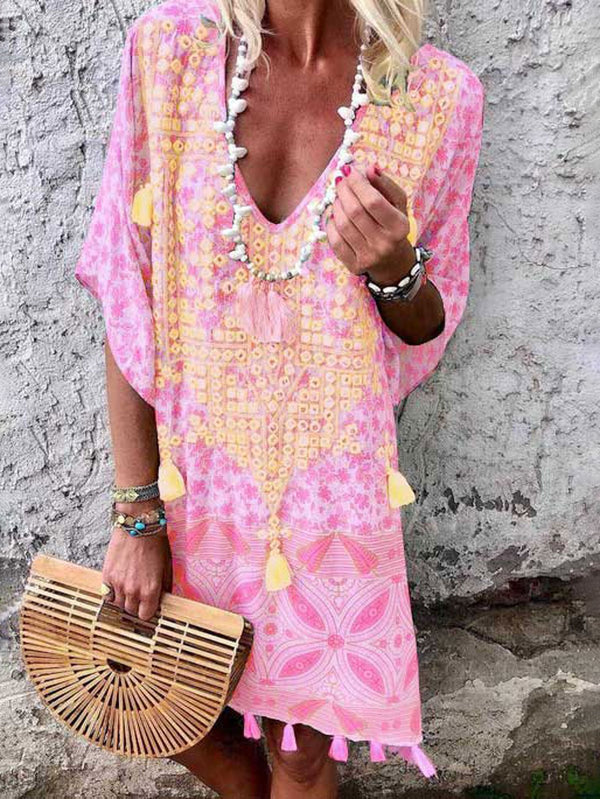 Floral Tassel Printed Casual Summer Above Knee Shift Dresses