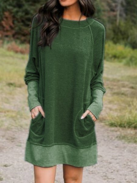 Cotton-Blend Long Sleeve Casual Dresses