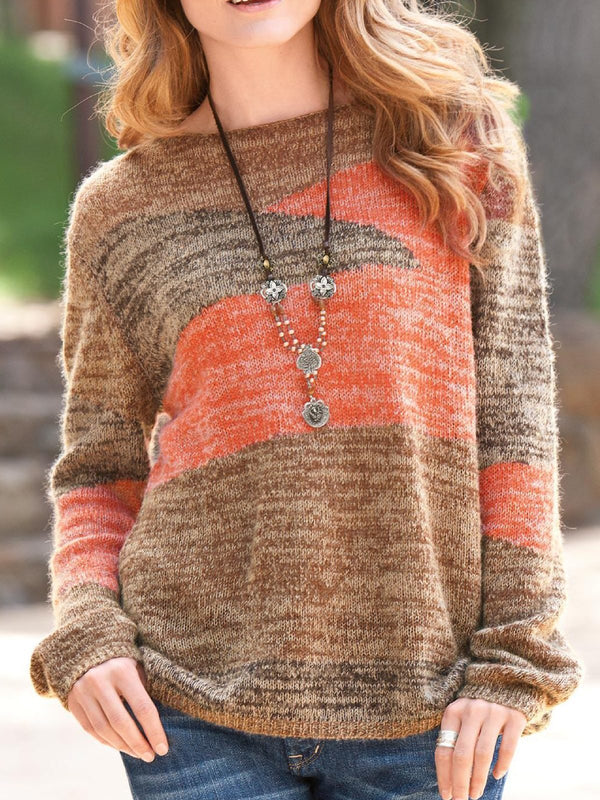 Cotton Crew Neck Long Sleeve Plus Size Sweater