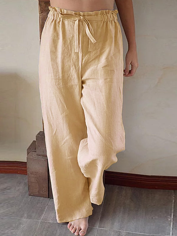 Apricot Solid Cotton-Blend Casual Pants