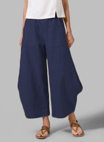 Plus Size Solid Linen Women Pants