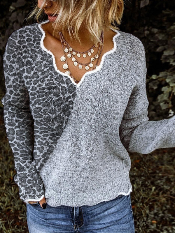 Gray Long Sleeve Cotton-Blend Ruffled Sweater