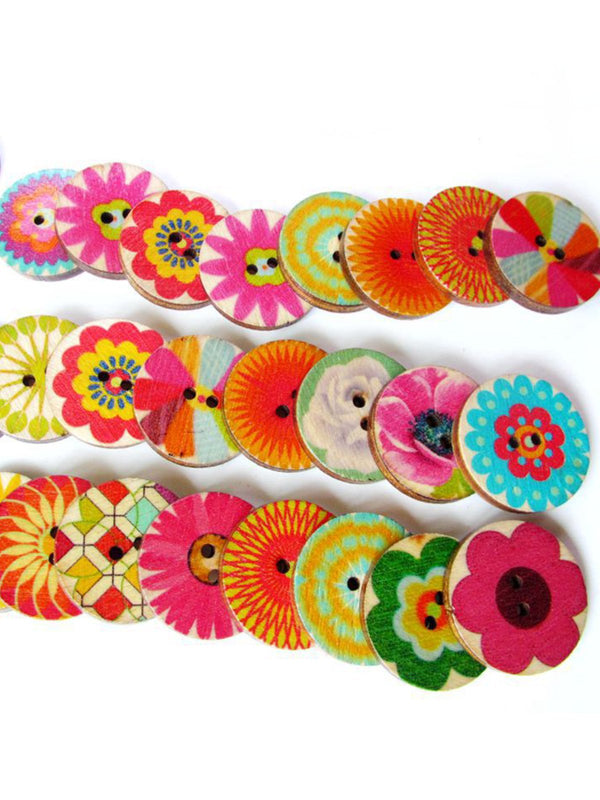 100Pcs Multi-Color Wooden Buttons Round Sewing Buttons For DIY Craft Bag Hat Clothes Decoration 20mm