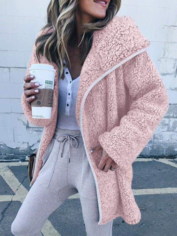 Casual Long Sleeve Pockets Plus Size Coats