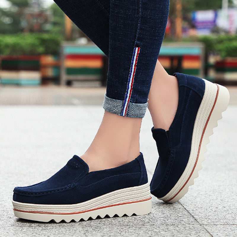 f242934f2147 Womens Breathable Suede Round Toe Slip On Platform Shoes – Jolienana