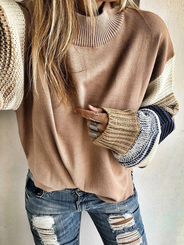 Apricot Stand Collar Casual Knitted Sweater