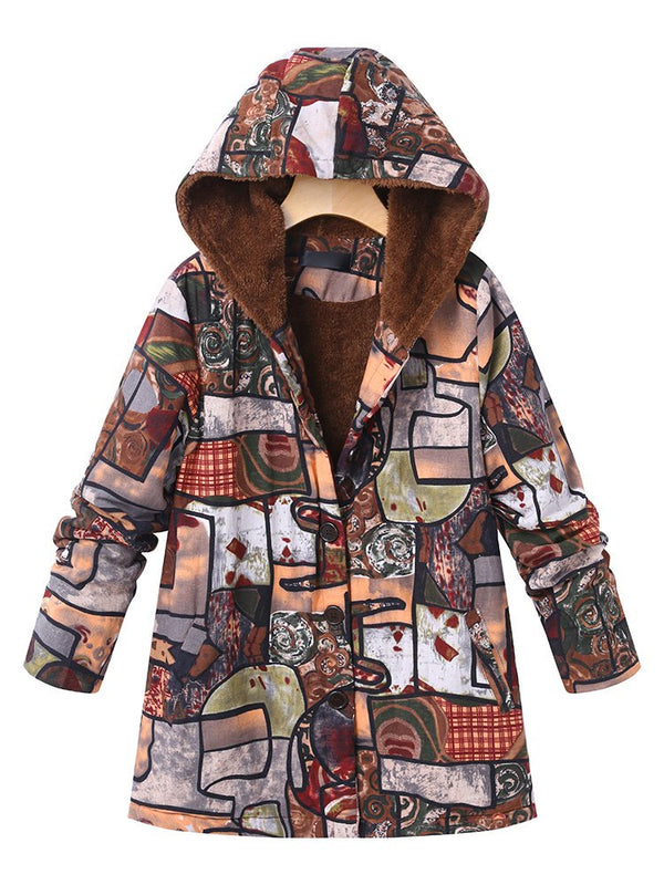 Women Casual Abstract Hot Hoodie Colorful Buttoned Coat