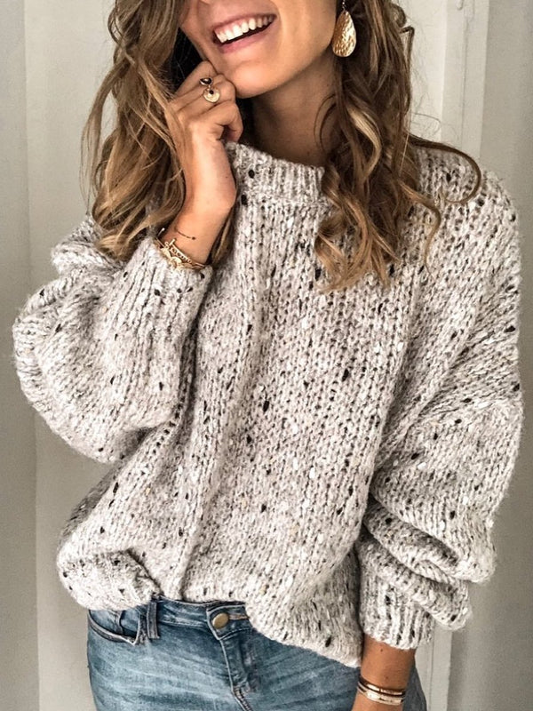 O-Neck Polka Dots Cotton Vintage Sweater