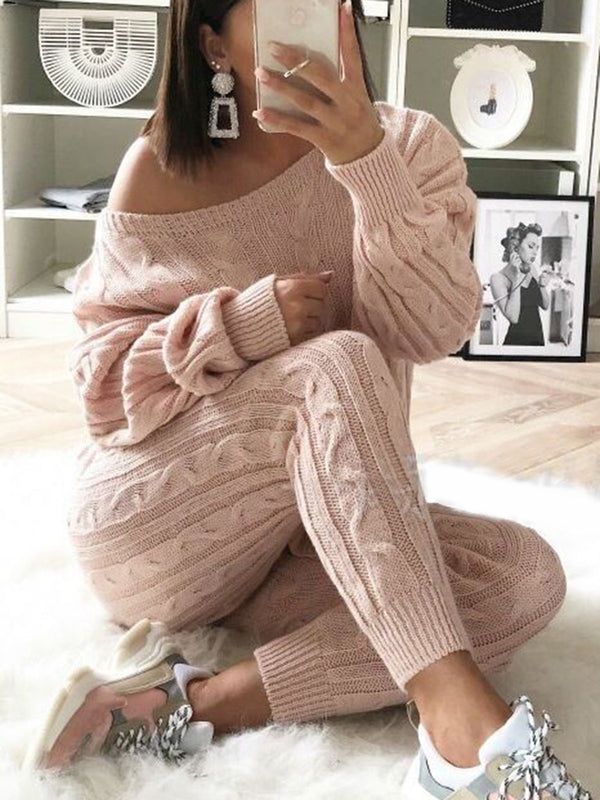Women's Stylish Round Neck Two Piece Casual Warm Knit Wears Sets Jumpsuits