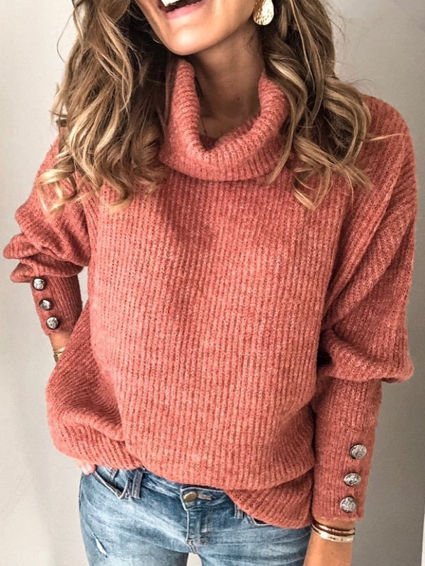 Solid Cotton-Blend Long Sleeve Turtleneck Sweater