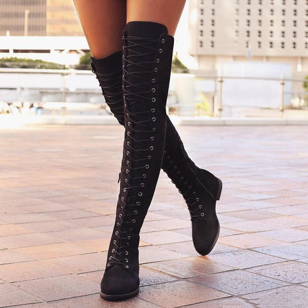 Women Knee-High Heel Lace-Up Martin Boots