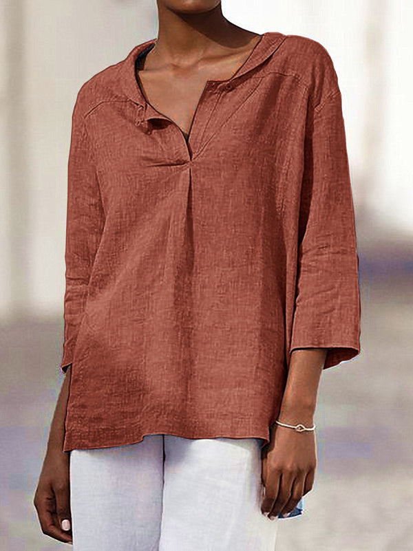 Casual Buttoned 3/4 Sleeve Shirts