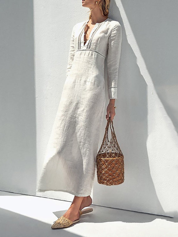 White Shift Women Daily Long Sleeve Casual Paneled Solid Spring Dress