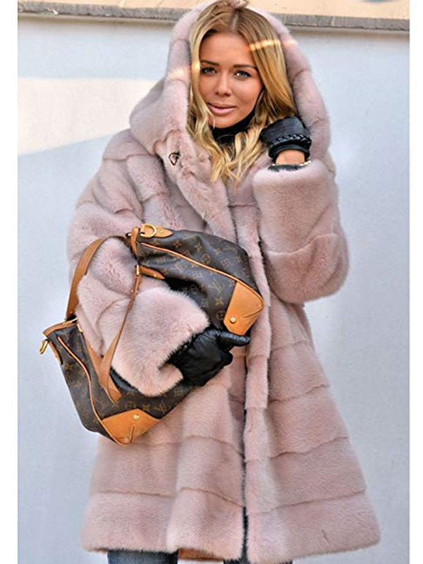 Womens Thick Faux Fur Big Hooded Parka Long Overcat Peacoat Winter Coats