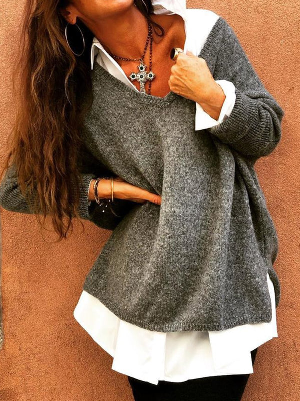 Plus Size Casual V Neck Solid Long Sleeve Sweater