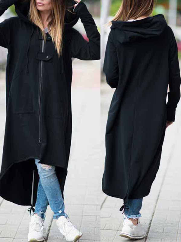 Hoodie Casual Long Sleeve Pockets Plain Plus Size Coat