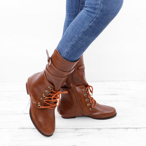 c536c3f619aa Vintage Women Lace-up Boots Adjustable Buckle Faux Leather Low Heel Boots