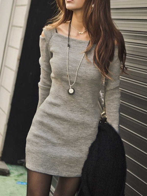 Cold Shoulder Knitted Long Sleeve Jersey Dress