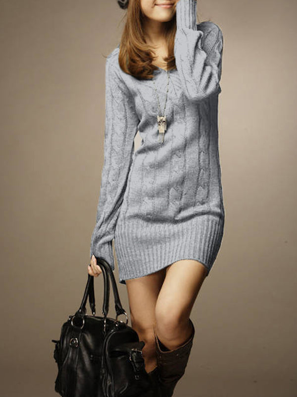 Casual Sheath V Neck Knitted Sweater Dress